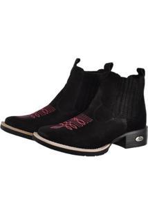 Bota Botina Feminina Texana Pessoni Boots Couro Cano Curto - Feminino-Preto