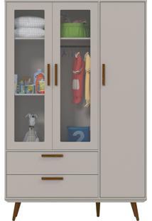Roupeiro 3 Portas Glass Retrô Cinza E Eco Wood Matic Móveis