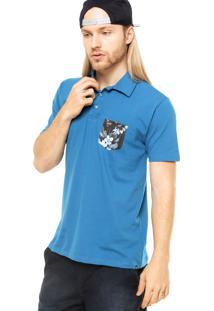 Camisa Polo Manga Curta Hurley Floral Azul