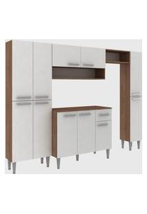 Cozinha Modulada C/ Tampo Madri 11 Portas Teka/Branco Fellicci Móveis