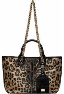 Dolce & Gabbana Bolsa Tote Com Animal Print - Preto