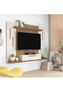 Painel Para Tv 50 Polegadas 1 Porta Cronos Artely Off White/Pinho