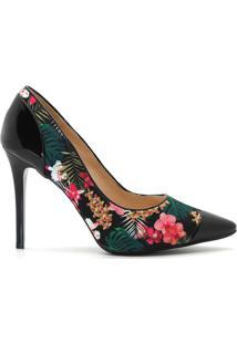 Scarpin Royalz Tecido Floral Verniz - Feminino-Preto