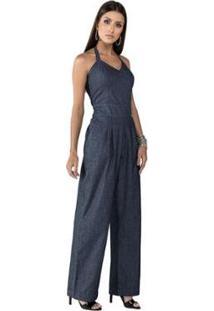 Macacão Jeans Frente Única Feminino - Feminino-Azul Escuro