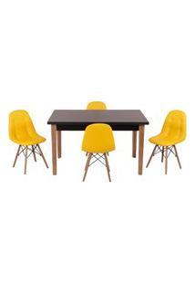 Conjunto Mesa De Jantar Luiza 135Cm Preta Com 4 Cadeiras Botonê - Amarelo