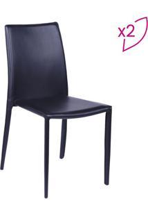 Jogo De Cadeiras De Jantar Glam- Preto- 2Pã§S- Oror Design