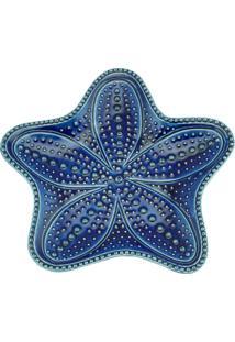 Conjunto Com 4 Pratos Bon Gourmet Em Cerâmica Estrela Ocean Azul - Kanui