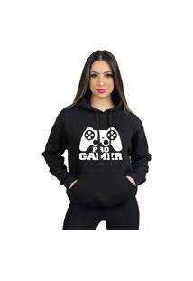 Moleton Feminino Pro Gamer Flanelado Blusa De Frio Canguru Com Capuz E Bolso Moletom Algodão 70% 30% Poliéster Preço Varias Cores