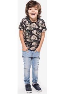 Camiseta Floral Petróleo Niños 500016