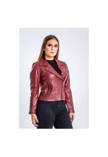 Jaqueta De Couro Parra Couros Feminina Motoqueira Perfecto Vermelho