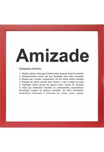 Quadro Amizade 27X27-Kapos - Vermelho