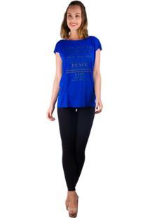 T-Shirt Recorte Frontal Com Silk - Banna Hanna - Feminino-Azul