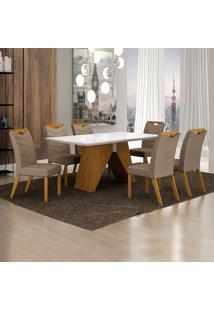 Conjunto De Mesa De Jantar I Com 6 Cadeiras Verona Veludo Branco E Camurça