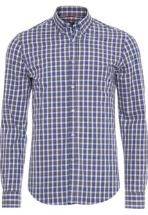 Camisa Masculina Traveller Melange Xadrez - Azul E Cinza
