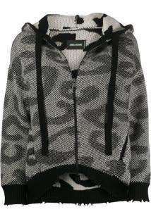 Zadig&Voltaire Lennox Leopard-Knit Cardigan - Preto