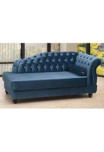 Chaise Estofada Com Pés De Madeira Vega Tcs-358 Azul Metalizado - Perfan
