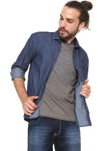 Camisa Jeans Vr Reta Azul