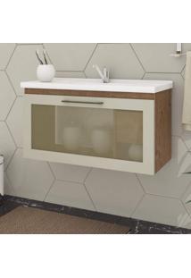 Gabinete De Banheiro 1 Porta Vidro Reflecta Basculante 1 Gaveta 1 Cuba 79Cm Hibisco Mgm Móveis Amêndoa/Off White