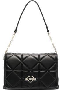 Love Moschino Quilted Logo Shoulder Bag - Preto