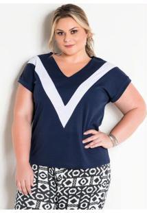 Blusa Bicolor Marinho E Branca Plus Size