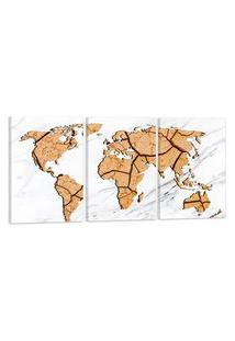 Quadro Oppen House Mapa Mundi Terra Rachada 60X120Cm Decoraçáo Escritórios Salas Empresas