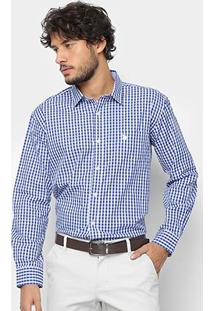 Camisa Manga Longa U.S. Polo Assn Xadrez Masculina - Masculino-Azul Royal