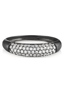 Anel Ouro Branco Ródio Negro E Diamantes