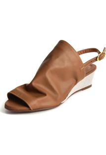 Sandália Anabela Scarpan Calçados Finos 5321 Caramelo
