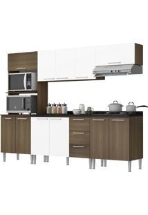 Cozinha Bianca Castanho Fosco/Branco C/ Tampo Genialflex Móveis
