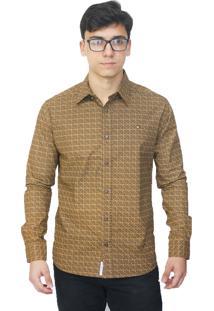 Camisa Slim Victor Deniro Bege Schacchi