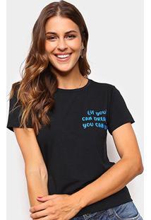 Camiseta Volare Estampada Manga Curta Feminina - Feminino-Preto