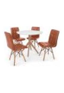 Conjunto Mesa De Jantar Maitê 80Cm Branca Com 4 Cadeiras Eiffel Gomos - Marrom