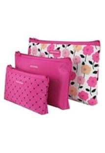 Kit Necessaire Com 3 Peças Jacki Design Pink Lover Pink