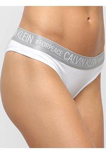 Calcinha Calvin Klein Tanga Reveillon Cotton - Feminino-Cinza