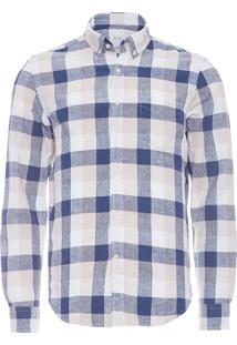 Camisa Masculina Linho Com Algodão Xadrez - Azul