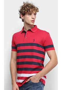 Camisa Polo Aleatory Fio Tinto Listrada Masculina - Masculino-Vermelho+Marinho