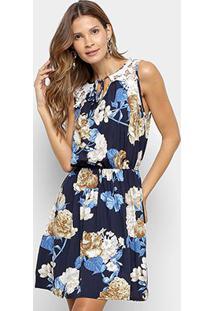 Vestido Pérola Evasê Curto Com Guipir - Feminino-Azul+Bege