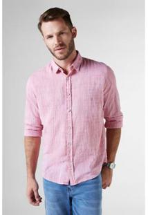 Camisa Ml Ft Trama Reserva Masculina - Masculino-Rosa