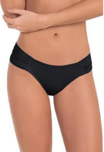 Calcinha Conforto Em Microfibra Drapeada Com Proteção Permanente - Feminino-Preto