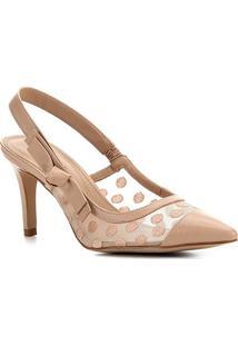 Scarpin Couro Shoestock Slingback Bordado Salto Alto - Feminino-Nude