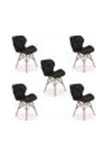 Kit 05 Cadeiras Charles Eames Eiffel Slim Wood Estofada - Preta