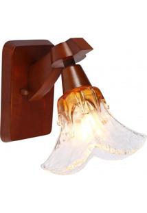 Arandela Para 1 Lâmpada De Madeira Ômega Country Madelustre Âmbar