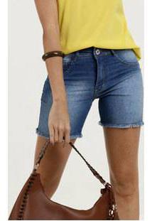 Bermuda Feminina Jeans Barra Desfiada Biotipo