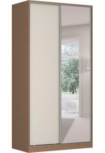 Guarda-Roupa Solteiro Com Espelho Tunas Iv 2 Pt 3 Gv Marrom E Branco