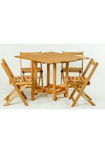 Conjunto 14 Bis Mesa Dobravel + 4 Cadeiras Estrutura Stain Jatoba - 61642 - Sun House