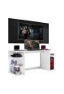 """Mesa Gamer Com Painel E Suporte Tv 55"""" Guilda Multimóveis Branco/Preto"""