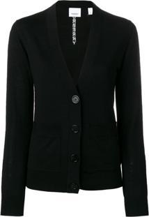 Burberry Cardigan Com Abotoamento Frontal - Preto