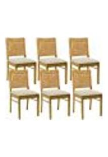 Kit 06 Cadeiras Para Sala De Jantar E Cozinha Sit Oregon Linho Rústico Bege Claro - Gran Belo