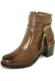 Bota Dhatz Ankle Boot Com Fivela Não Possui Cadarço Tabaco - Kanui