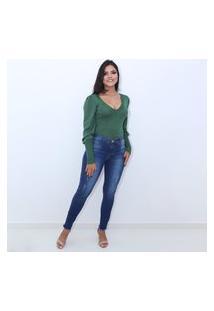 Calça Jeans Compozer Feminina Original Empina Bumbum Skinny Azul Escuro